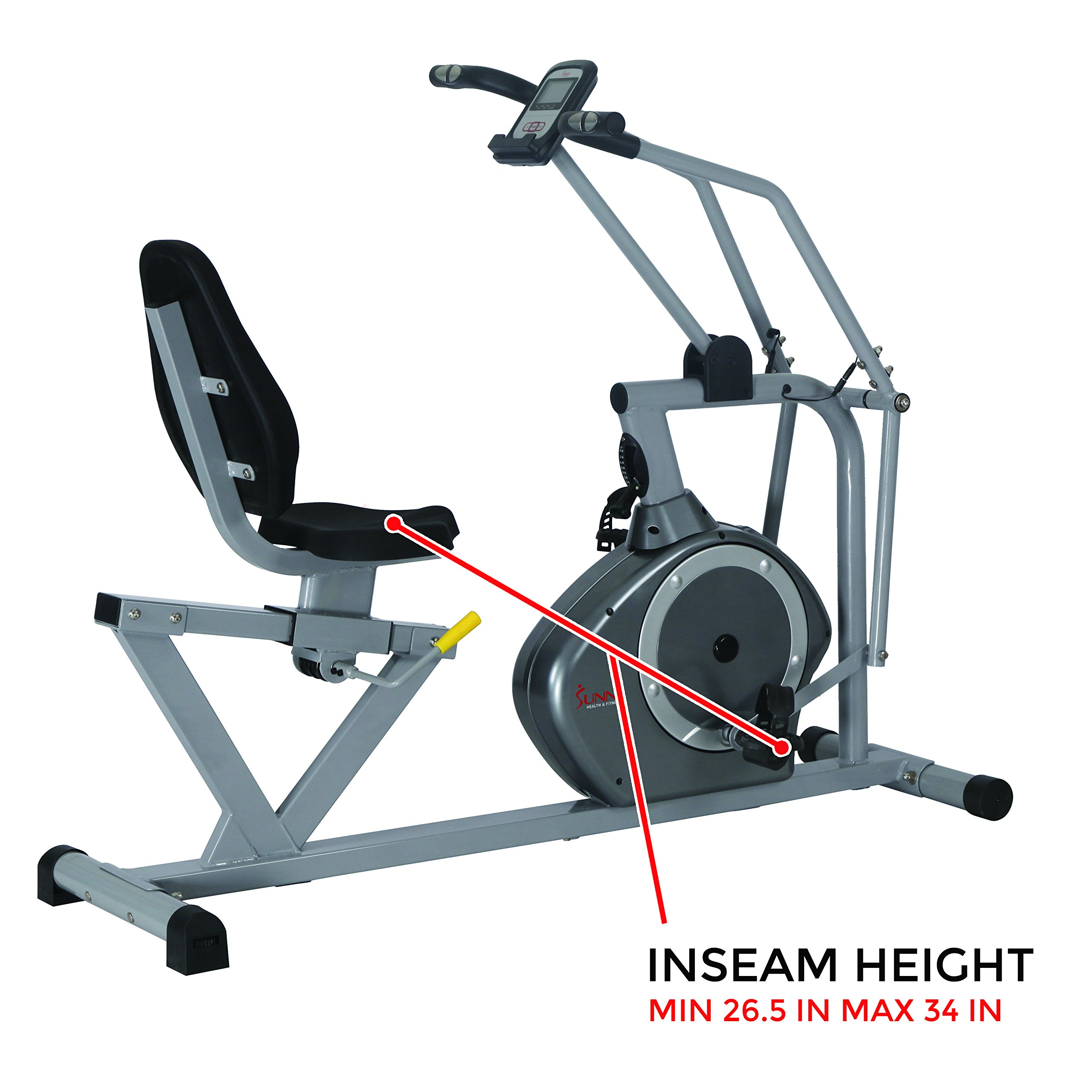 Sunny Health & Fitness Magnetic Recumbent Bike Exercise Bike, 350lb High Weight Capacity, Cross Training, Arm Exercisers, Monitor, Pulse Rate Monitoring - SF-RB4708 by Sunny Health & Fitness (Image #12)