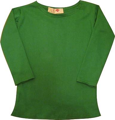 Girl Kids Long Sleeve Cotton Crew Neck Plain GREEN Top/T-Shirt 2-