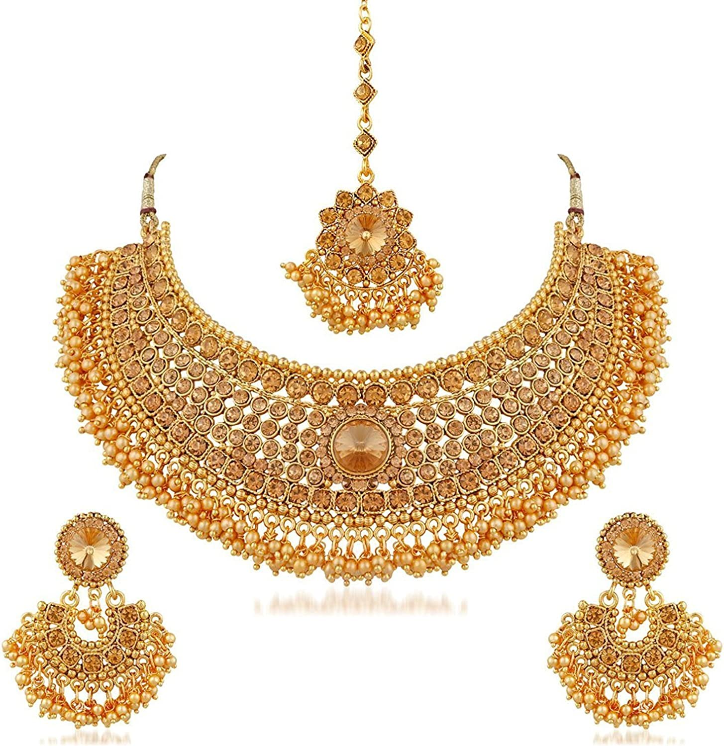 Indian Fashion Jewelry Bollywood Long Necklace Set Earring Ethnic Gold Plated