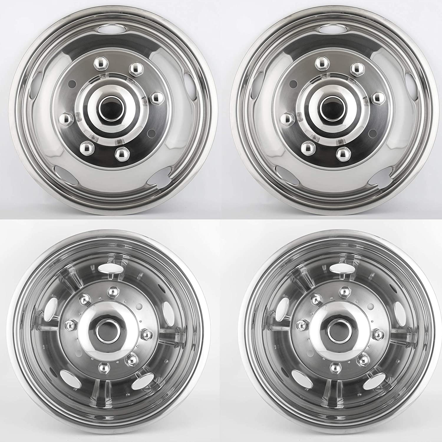 Puermto 4pcs 19.5 Polished Stainless Steel Dually Wheel Simulators Nice looking and Durable/Bolt On Wheel Covers 10 Lug Hubcaps/Fit for 2008-2020 Dodge Ram 4500//5500 with Installation Tool Kit