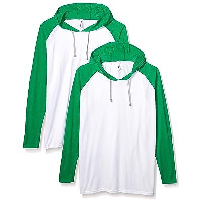 AquaGuard Men's Hooded Raglan Long-Sleeve Fine Jersey T-Shirt-2 Pack at Men's Clothing store