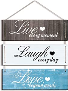 Quzzil Rustic Wood Sign Wall Decor Live Love and Laugh Quote Sign Rustic Home Wall Decor Family Hanging Sign for Living Room Bedroom Bathroom Kitchen Office
