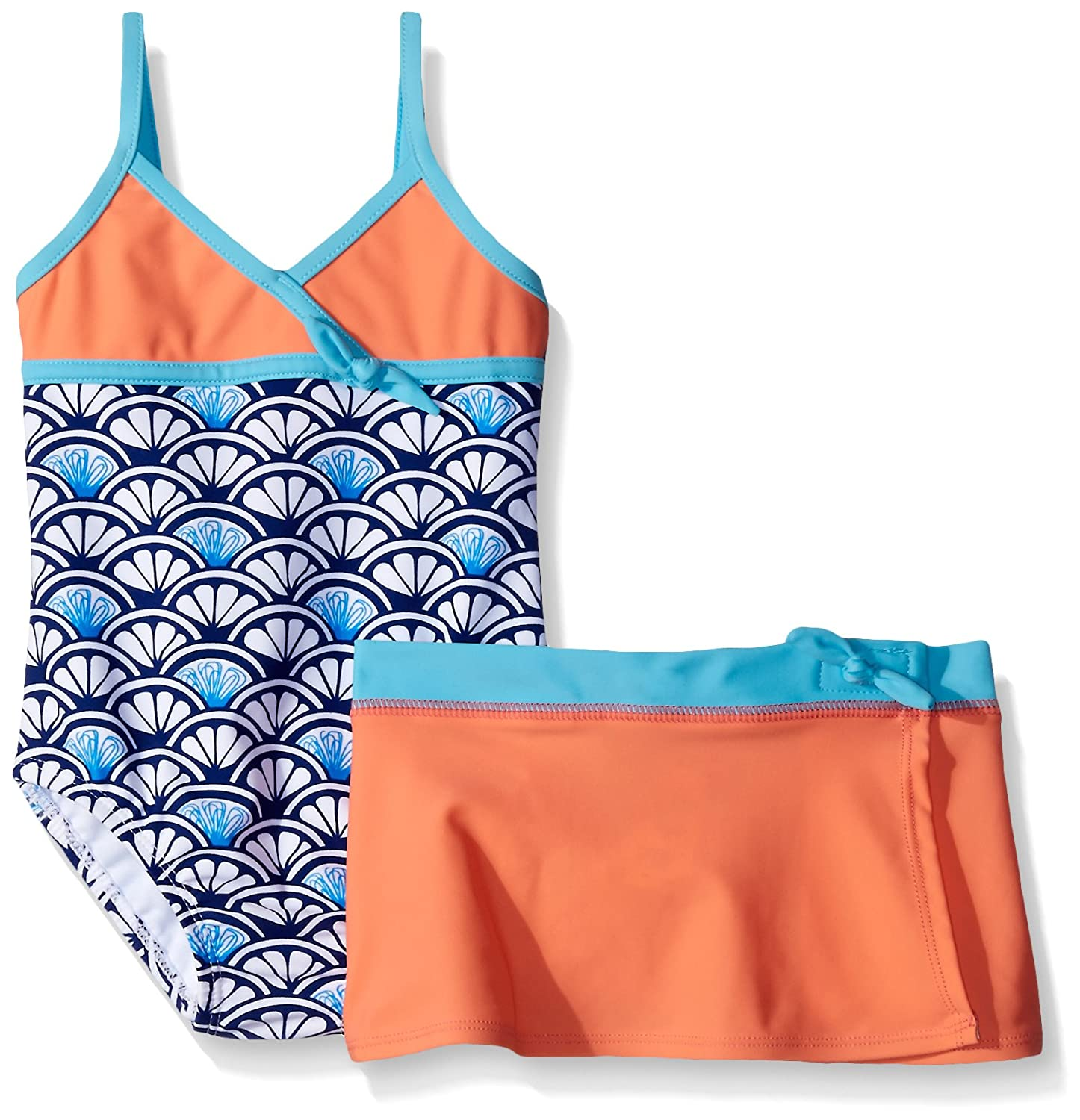 Tommy Bahama Girls' One Piece Shell Swimsuit with Skirt ST16716