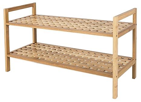 Zapatero de bambú con 2 estantes para el Pasillo o Cuarto de baño – Ideal Toalla