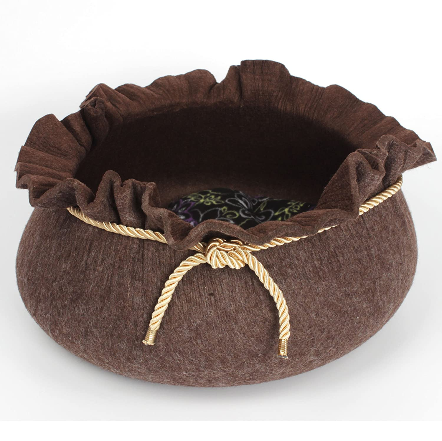 Pet Online Dog bed round felt small dog and cat nest durable cute warm pet supplies