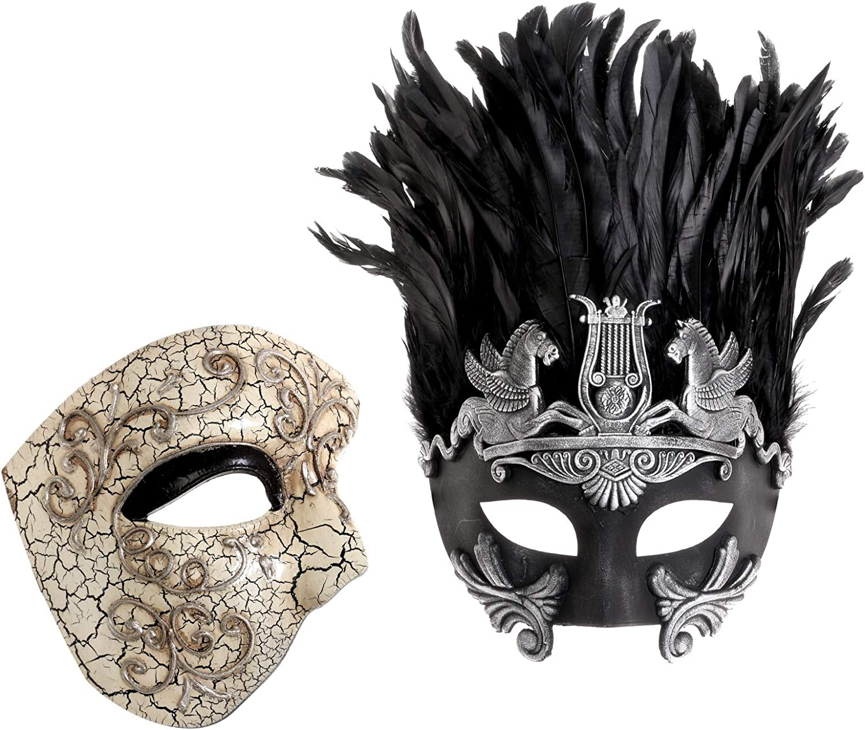Party Couple Masquerade Masks Set Phantom of the Opera Venetian Feather Mask