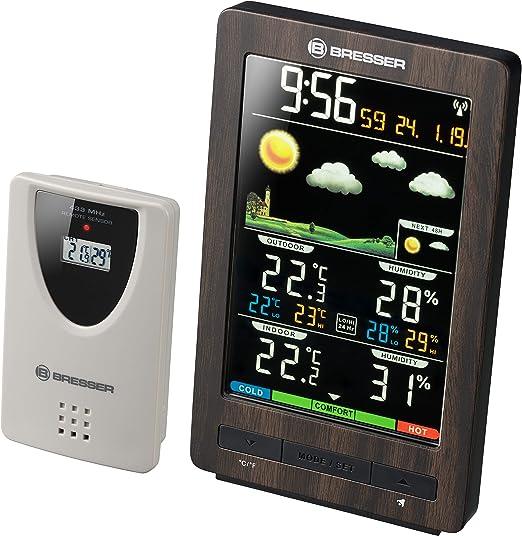 Bresser 7007320 - Estación meteorológica con Sensor Exterior, Aspecto de Madera: Amazon.es: Jardín