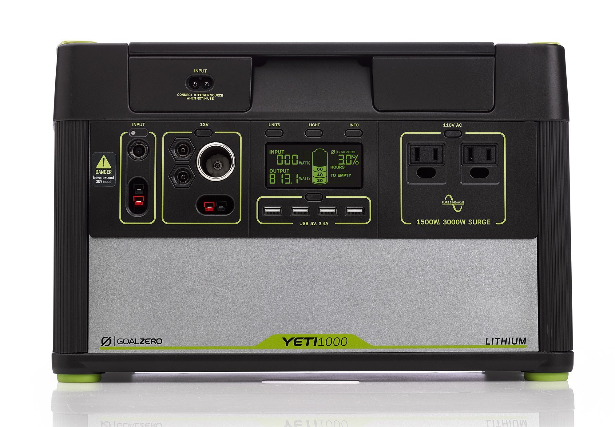 Goal Zero Yeti 1000 Lithium Portable Power Station, 1045Wh Silent Gas Free Generator Alternative with 1500W (3000W Surge) Inverter, 12V and USB Outputs (Certified Refurbished) by Goal Zero