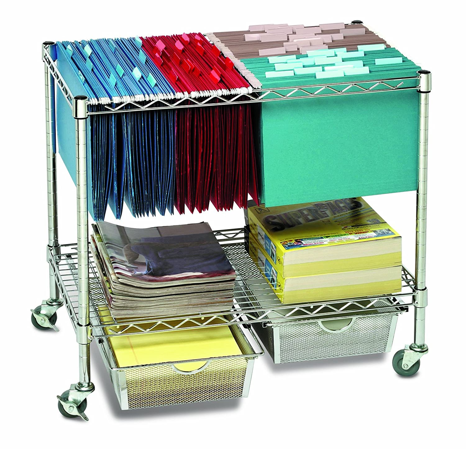 Amazon.com: Seville Classics 3 Tier Mobile Letter/Legal Office File U0026  Utility Cart With 2 Steel Wire Mesh Baskets: Home U0026 Kitchen