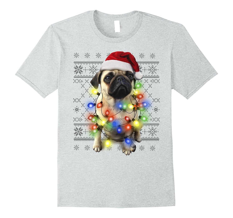 Ugly Sweater Photoreal Christmas Lights Pug Graphic T-Shirt-ANZ ...
