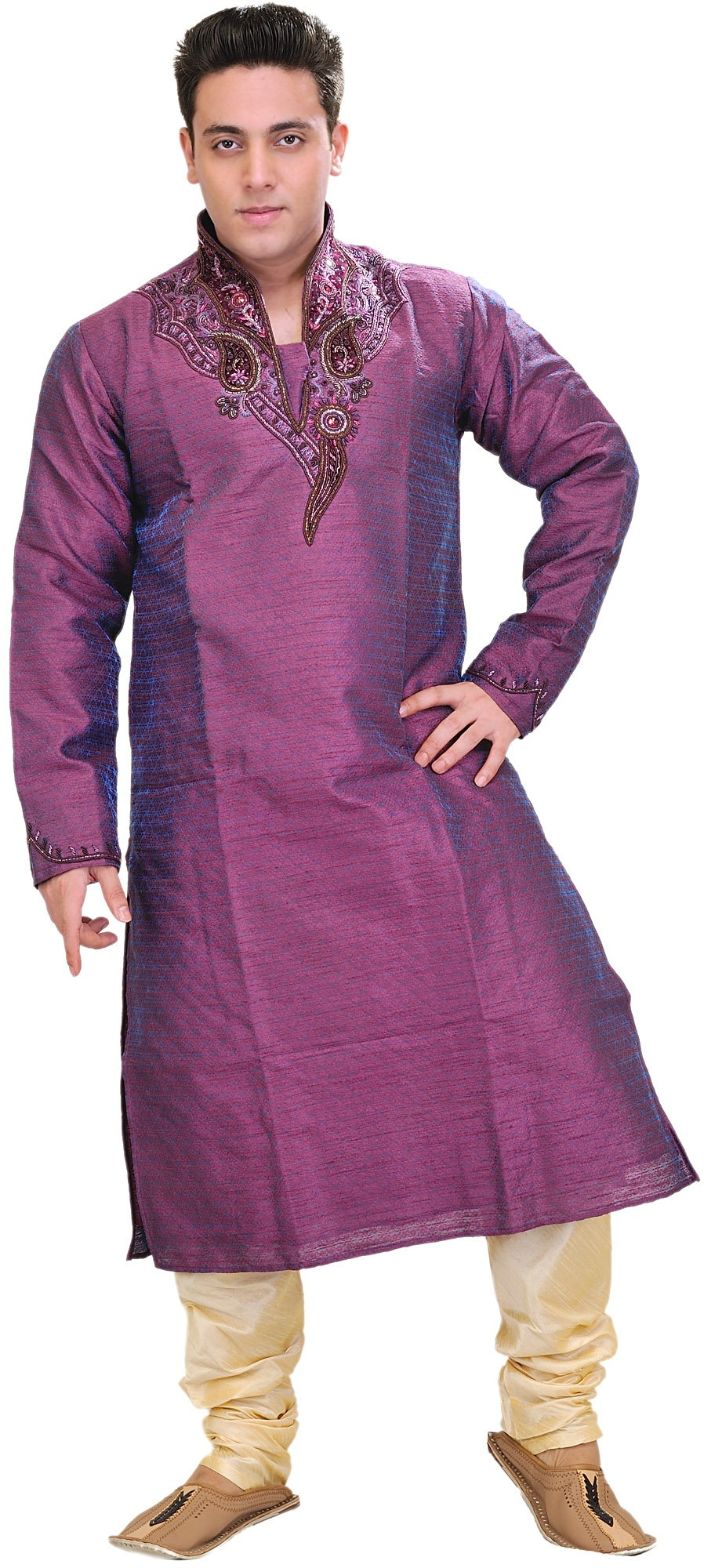 Exotic India Royal-Purple Wedding Kurta Pajama Set with Size 40