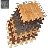 Sorbus Wood Grain Floor Mats Foam Interlocking Mats Each Tile 3/8-Inch Thick Flooring Wood Mat Tiles - Home Office Playroom B