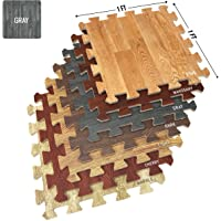 Sorbus Wood Grain Floor Mats Foam Interlocking Mats Each Tile 3/8-Inch Thick Flooring Wood Mat Tiles - Home Office…