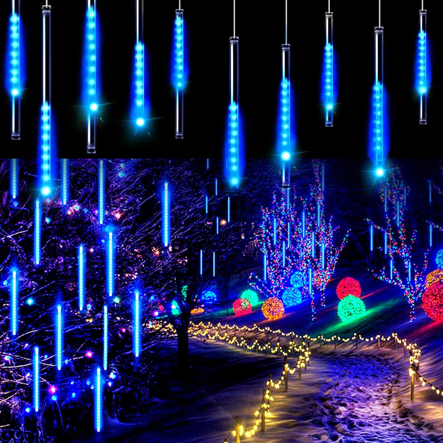 Aluan Christmas Lights Meteor Shower Rain Lights 10 Tube 240 LED 12 Inch Waterproof Plug in Falling Rain Fairy String Lights for Halloween Christmas Holiday Party Home Patio Outdoor Decoration, Blue