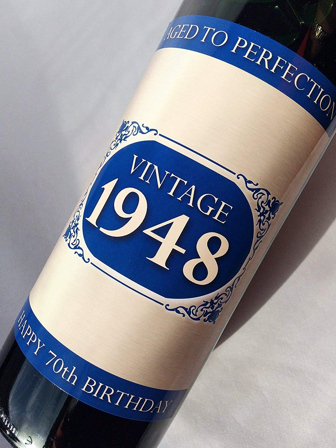 1948 Vintage Blue Happy 70th Birthday 2018 Wine Bottle Label Gift for Women and Men Purple Products