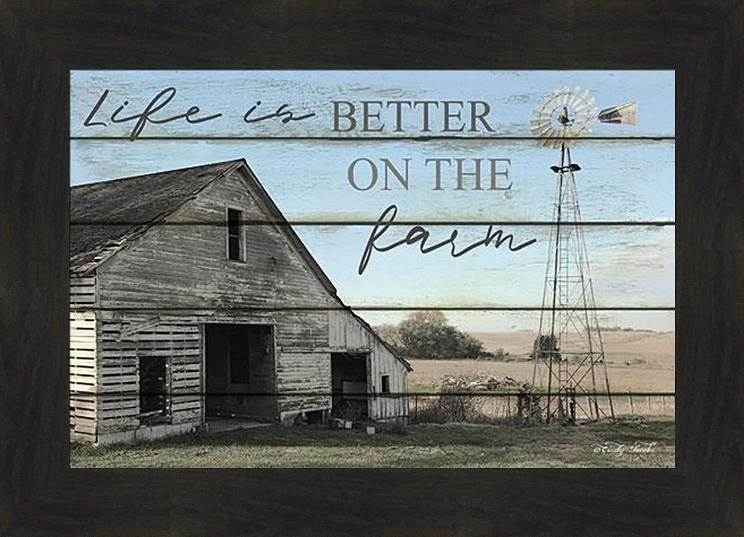 Amazon Com Life Is Better On The Farm By Cindy Jacobs 16x22 Old Weathered Barn Windmill Plank Inspired Art Print Framed Wall Decor Picture Posters Prints