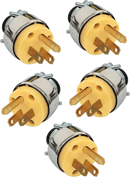 Wennow 5pc Male Extension Cord Replacement Electrical Plugs 15amp 125v 3 Prong Amazon Com