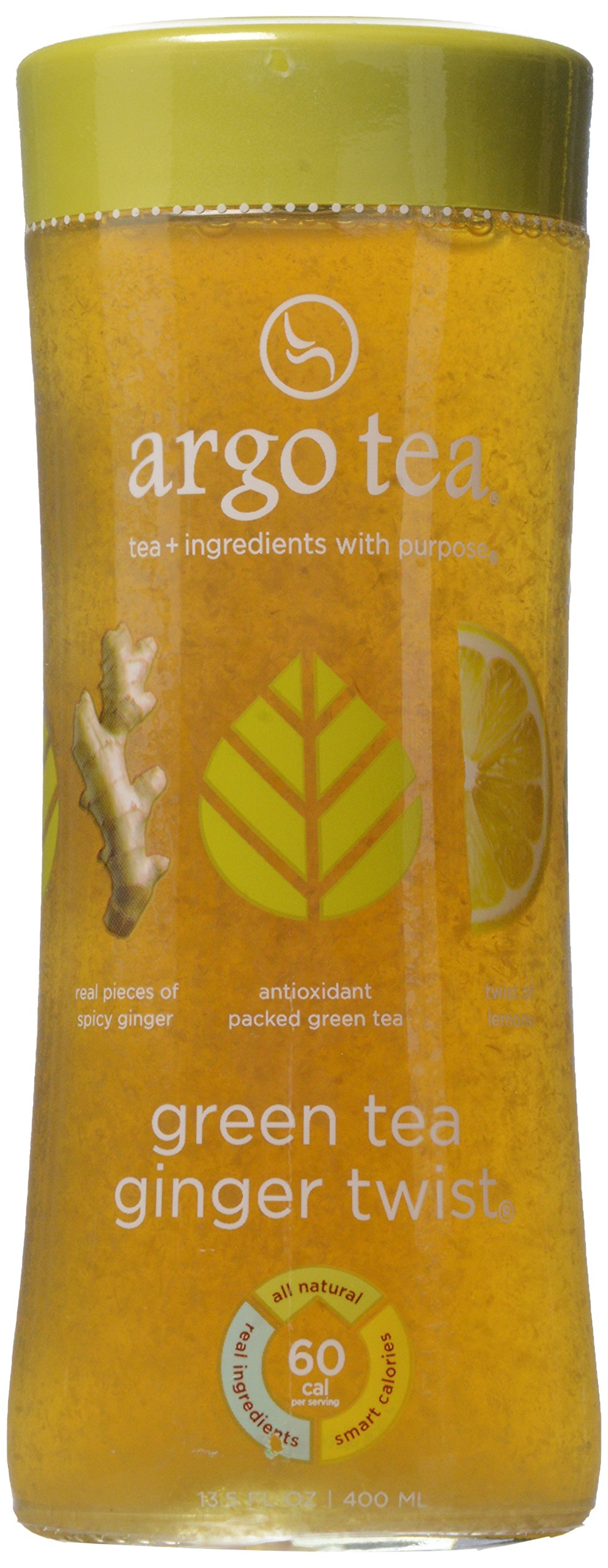 Argo Tea Bottled Tea Drink, Green Ginger Twist, 13.5 Fl Oz by Argo Tea