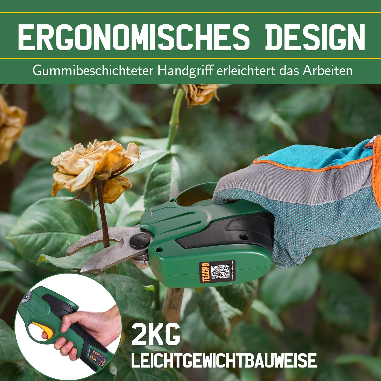 Ladeger/ät -TDPR01G inkl TECCPO 7.2V Elektrische Astschere 400 Schnitte//Akkuladung Weichgummi-Griff Akku Gartenschere