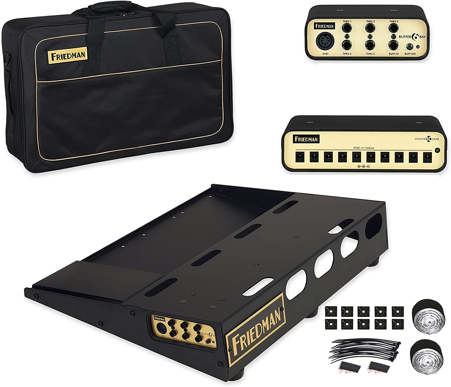 """Friedman Amplification Tour Pro 1520 Platinum Pack 15"""" x 20"""" Pedal Board with Riser, Professional Carrying Bag, Power Grid 10 & Buffer Bay 6"""