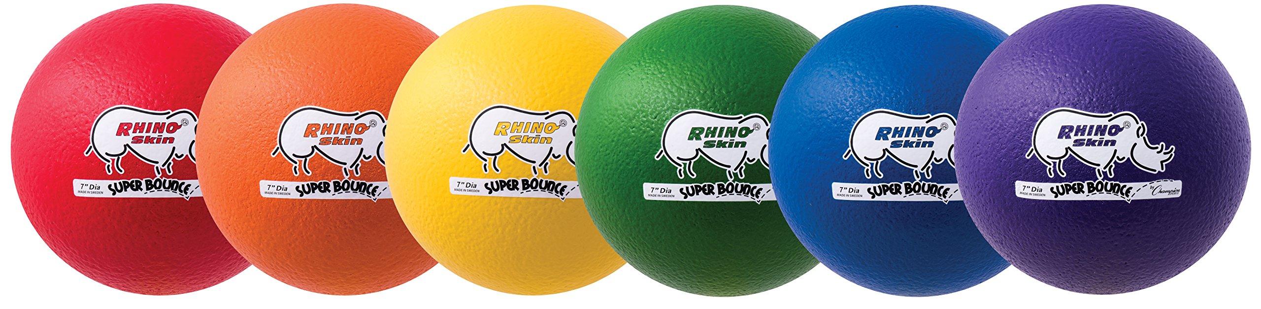 Champion Sports 7 Inch Rhino Skin Super High Bounce Dodgeball Set