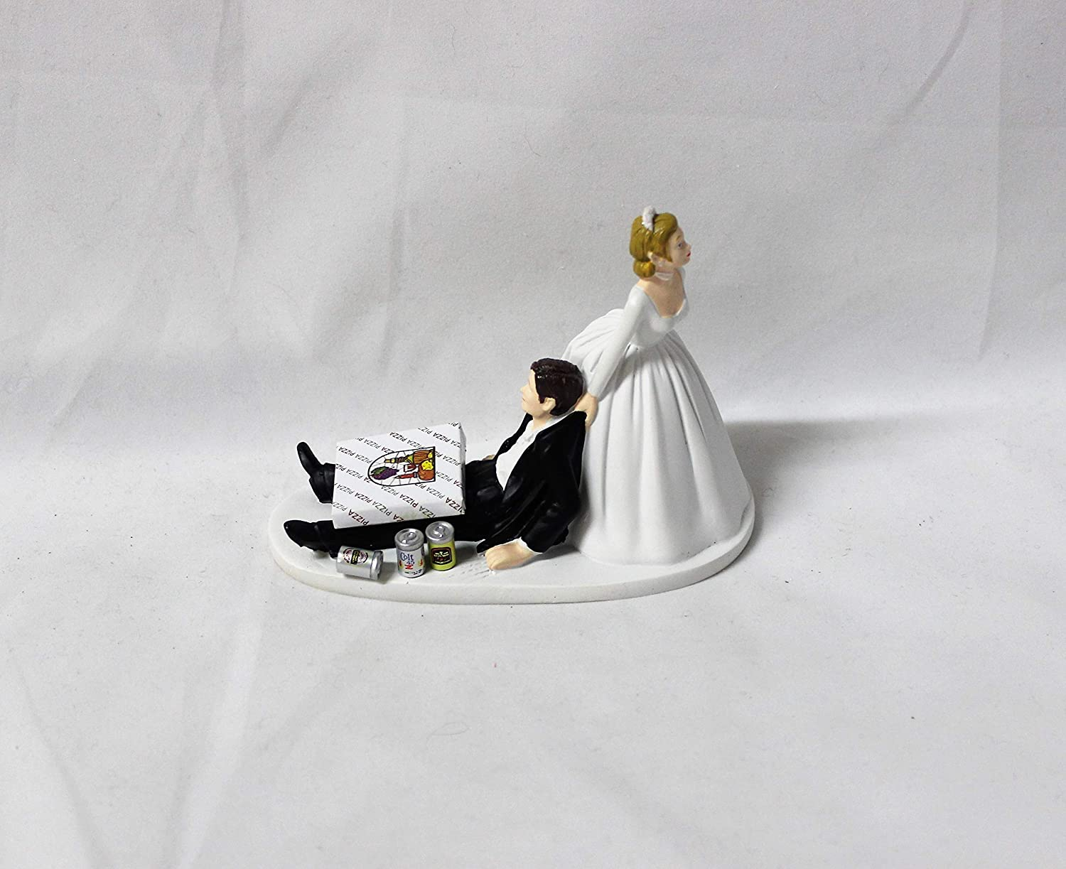 Wedding Reception Party Cake Topper Beer Cans Game Over Sign Dark Hair Couple