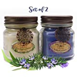 Way Out  West Aromatherapy Candles Stress Relief 2 Pack with Natural Essential Oils of Lavender, Eucalyptus Spearmint and Rosemary (2) 8 Ounce Jar Candles- Spa Quality Gift and Made in America