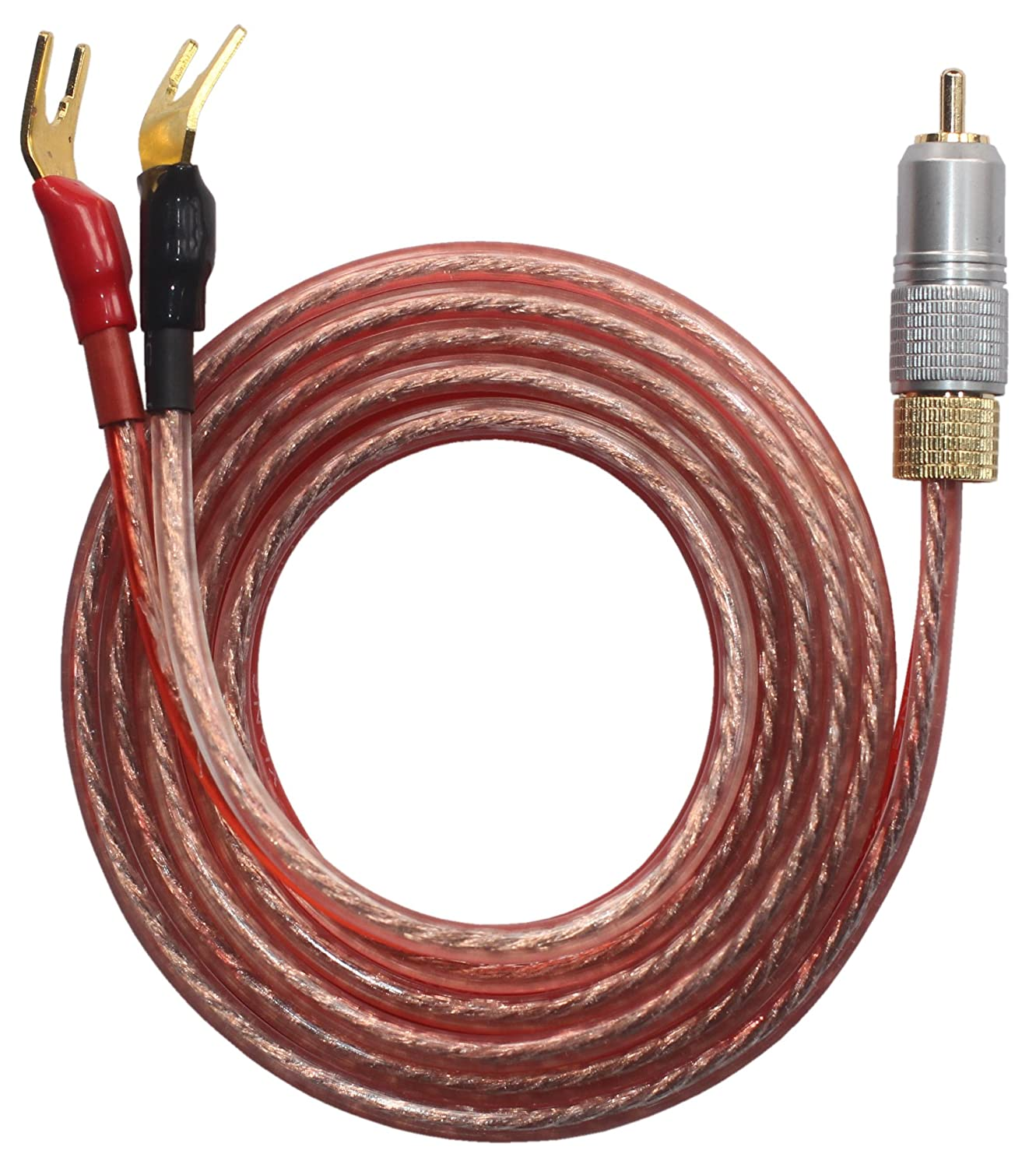 Amazon 12 ft rca plug to lugs speaker cable home audio kr ry speaker wire pair with rca male to 2 pair spade plug2 keyboard keysfo Choice Image