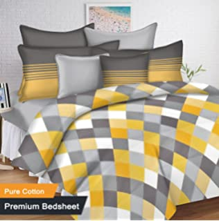 Ahmedabad Cotton 144 TC 100% Cotton Double Bedsheet With 2 Pillow Covers    Yellow And