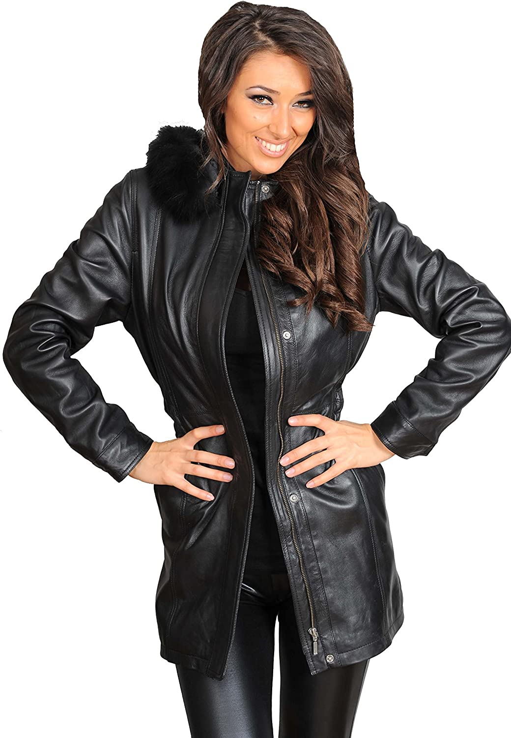 Womens Soft Brown PARKA Leather COAT Latest Hooded Fitted Zip Up 3//4 Long Jacket