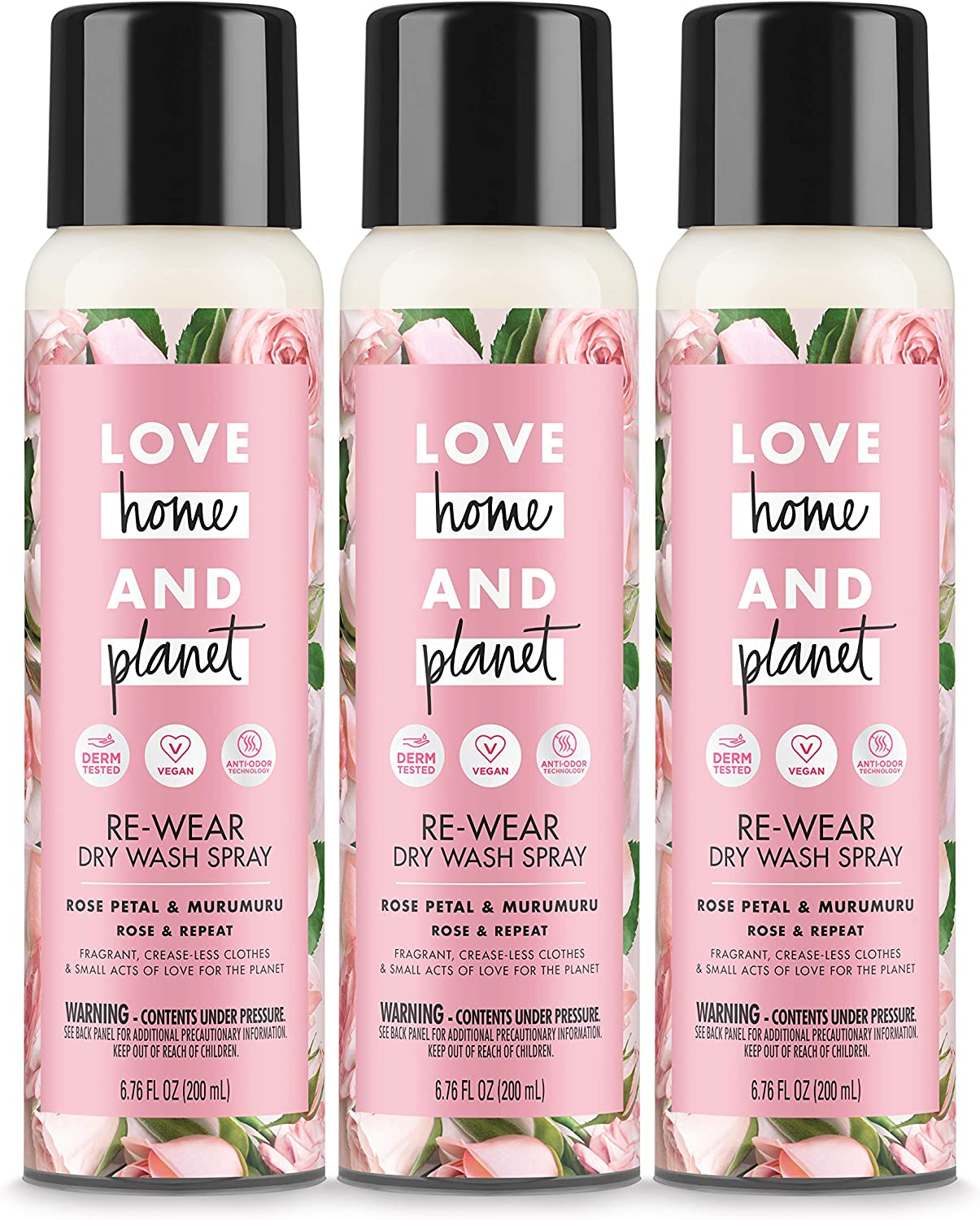 Love Home and Planet Dry Wash Spray Rose Petal & Murumuru 6.76 Fl Oz, Pack of 3
