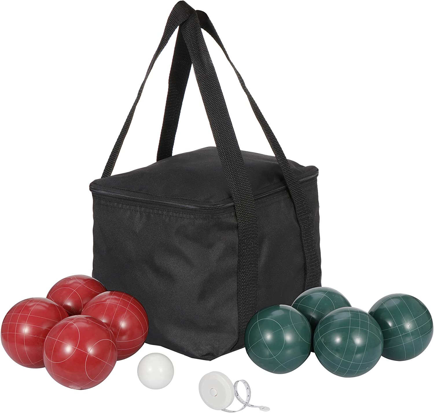 Smartchoices Bocce Ball Set with 8 Bocce Balls 100mm,1 Pallino Carry Bag and Measuring Rope for Beach Backyard Lawn or Outdoor Party Family Game All Weather