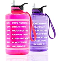 ChillXX Large Motivational Water Bottle with Time Markings (2.2 Litre) - Daily Drink Bottle with Straw - Time Marker by…