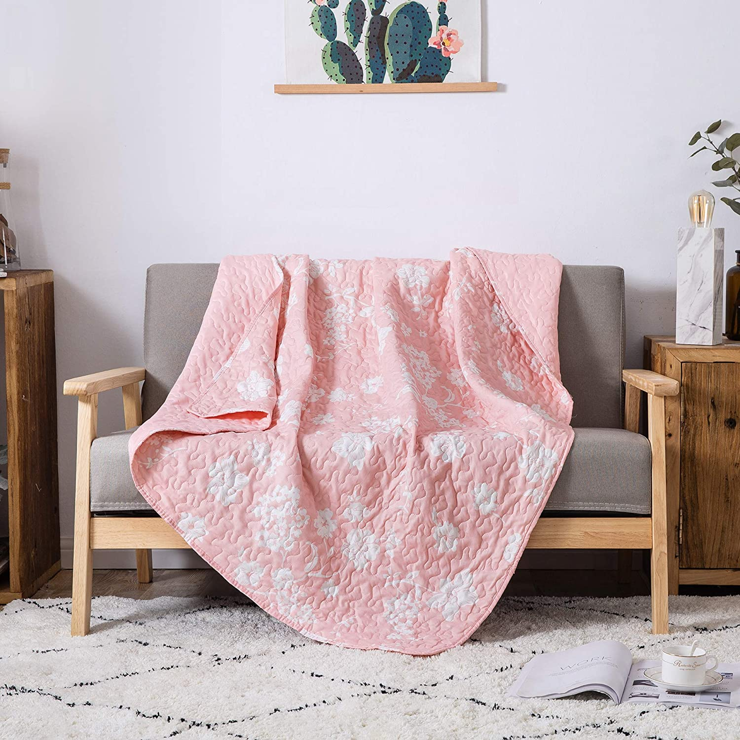 50 x 60 Pink Lap Quilt for Couch and Bed Soul /& Lane Petal Perfection Quilted Throw Blanket