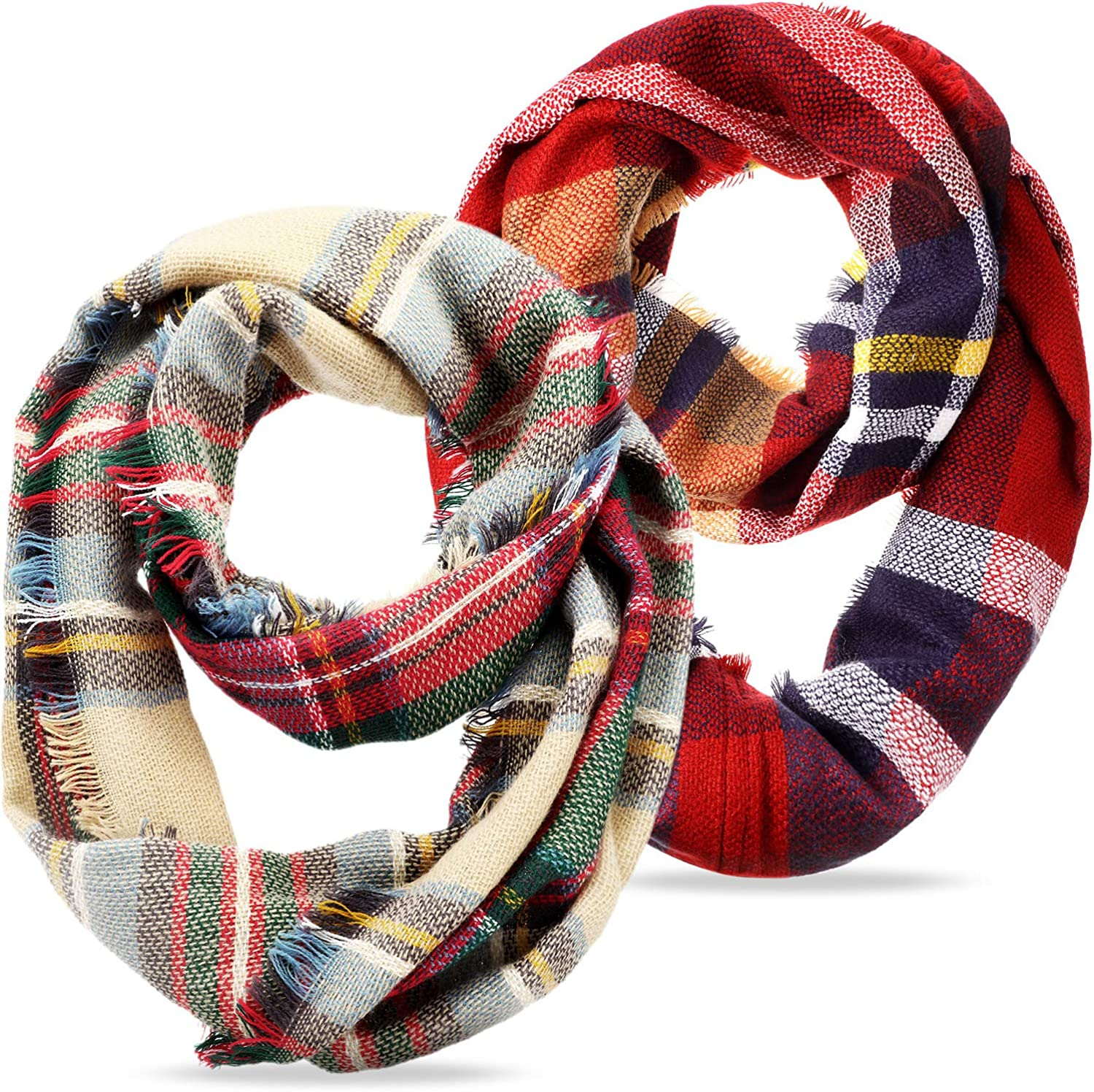 2 Pieces Plaid Tartan Infinity Scarf Winter Checkered Pattern Circle Loop Scarf Wrap for Women Accessories