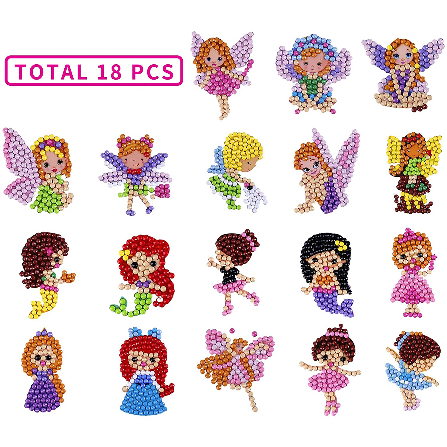 10 Packs, Princess ZKSM Diamond Painting Kits for Kids DIY Paint by Numbers 5D Diamonds Stickers Arts and Crafts Dotz Kits for Kids