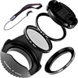 Lumos Accessory Set with 49 mm UV Filter CPL Circular Polarizer Filter Lens Cap Lens Hood and step up Adapter Ring for Sony Alpha Camera Lens with 40,5 mm and 49 mm Screw-in / Compatible with SONY Alpha 5000 6000 6300 Sel P1650 16 – 50 SEL55210 55-210 mm