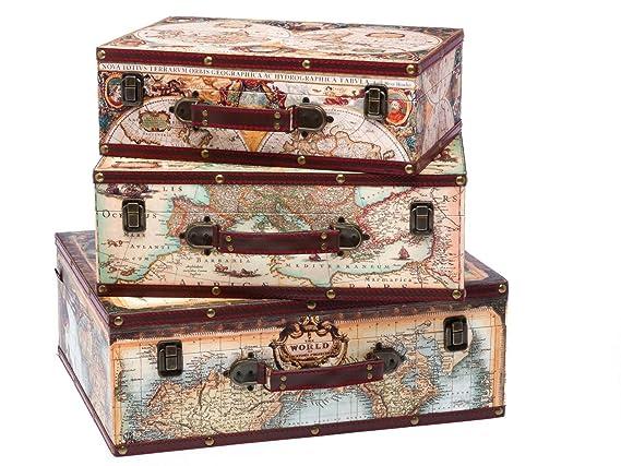 Mapa maleta caja de equipaje de viajes mundial 3x madera de ...