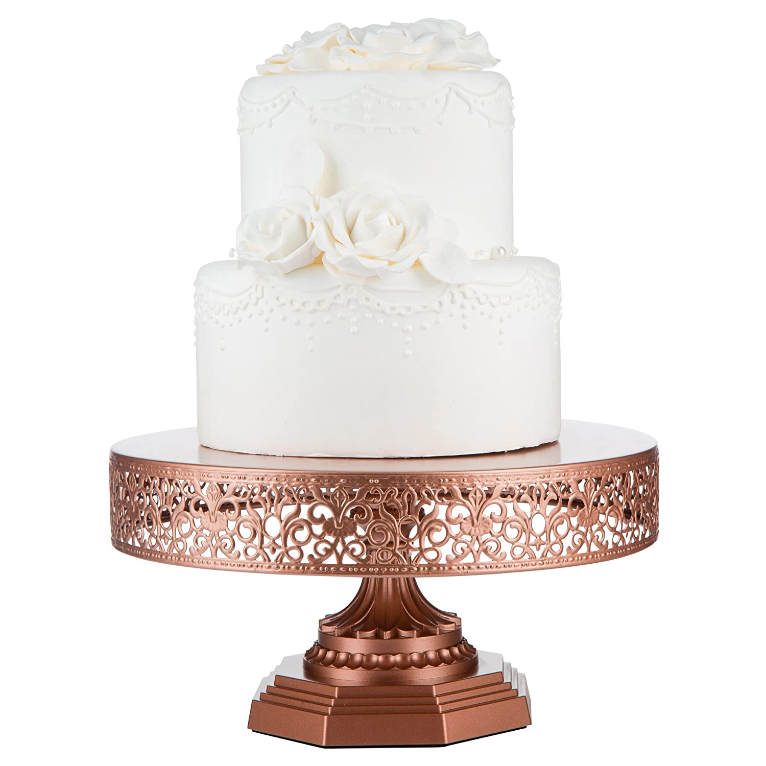 Decorative Cake Stands Amazoncom Victoria Collection Rose Gold Round Metal Cake