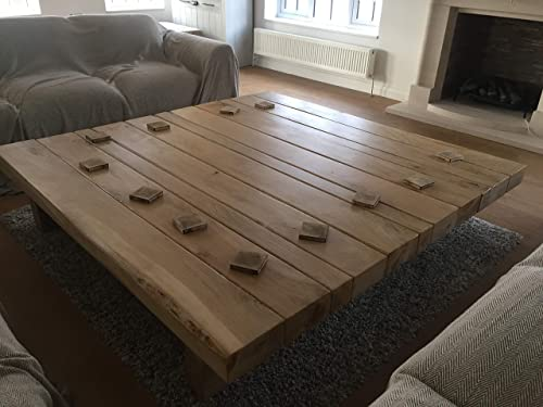 Hand Crafted Large Oak Square Coffee Table Rustic Farm House Style Made To Order Amazon Co Uk Handmade