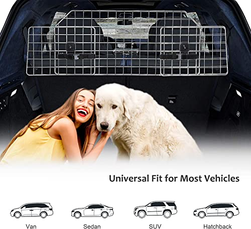 Xuliyme Dog Car Barrier, Adjustable Pet Metal Barrier for SUVs Cars and Vehicles, SUV Pet Cargo Dog Divider Heavy Duty Wire Mesh Dog Car Guard, Universal Fit