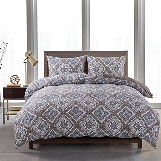 NEWLAKE Duvet Cover Set with Zipper Closure Queen,Light Gray 3-Piece Washed Cotton Comforter Cover Set