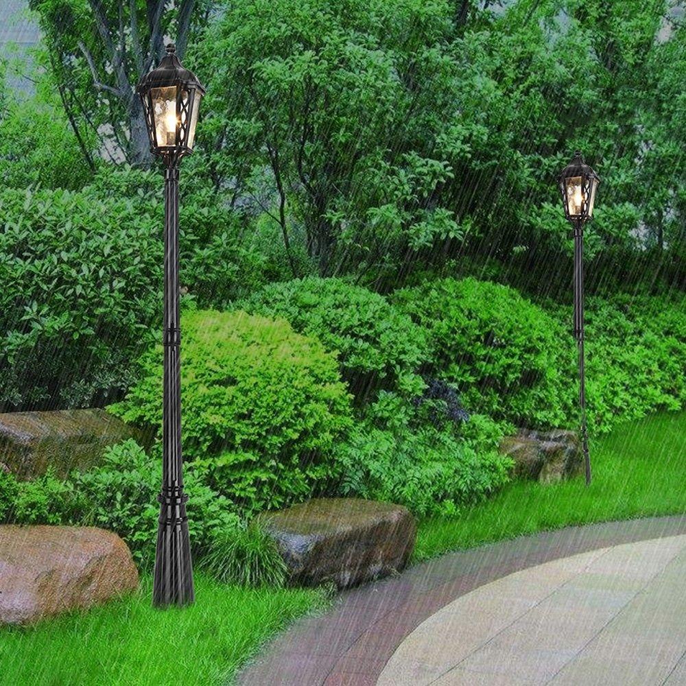 Vampsky European Retro Park Outdoor IP55 Waterproof Glass Column Lamp Lawn Villa Lights Antique Lantern Landscape High Pole Garden Patio E27 Decoration Column Lamp Street Light,Black (Size : 185cm)