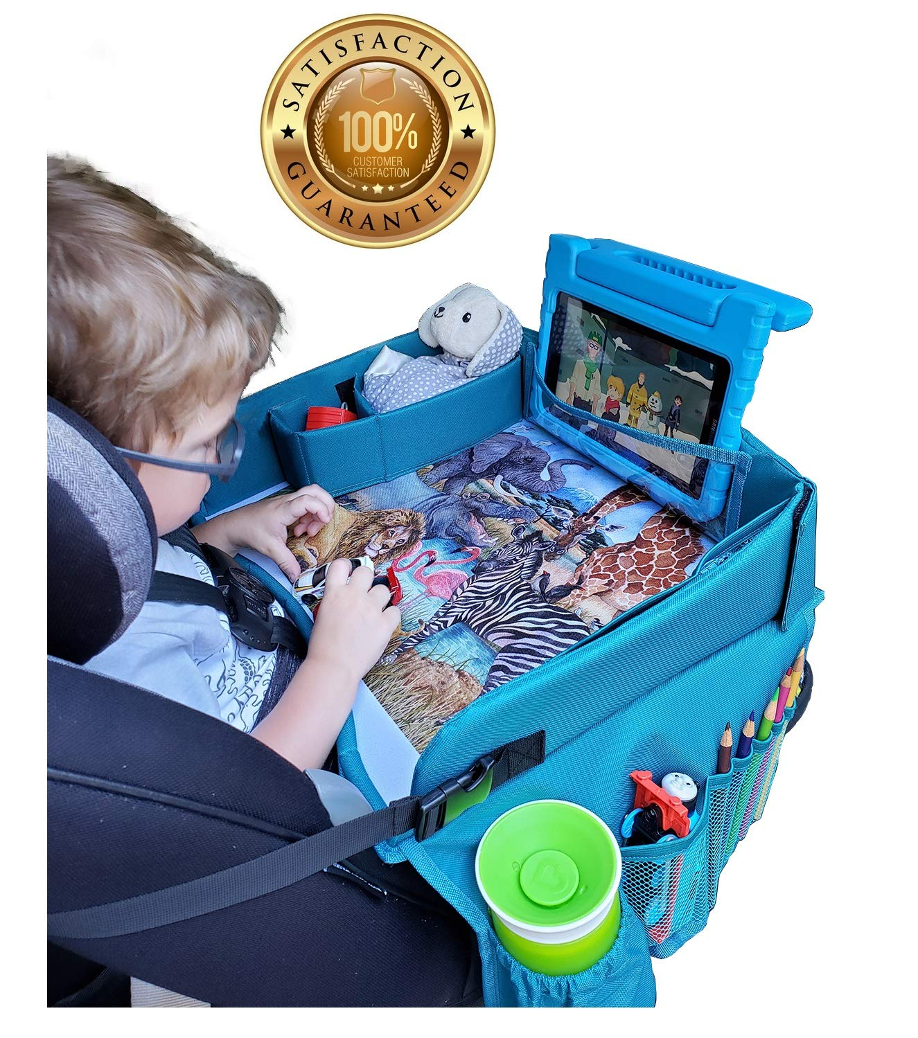Travel Tykes Car Seat Tray - Sturdy Portable Activity Organizer Table Keeps Snacks Toys Within Child's Reach Girl or Boy | Toddler Kids Booster Seat Travel Lap Tray for Stroller Car Plane by Travel Tykes