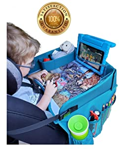 Travel Tykes Car Seat Tray - Sturdy Portable Activity Organizer Table Keeps Snacks Toys Within Child's Reach Girl or Boy | Toddler Kids Booster Seat Travel Lap Tray for Stroller Car Plane