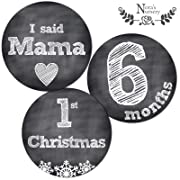 Deluxe Set of 32 Chalkboard Baby Monthly Milestone Stickers, Baby's First & Holiday Sticker Set for Infant Onesie & Outfit Belly Decals, Shower Gift Idea or Scrapbook Photo Keepsake