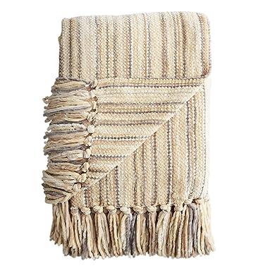 Pier 1 Imports Neutral Tan & Cream Striped Chenille Throw Blanket