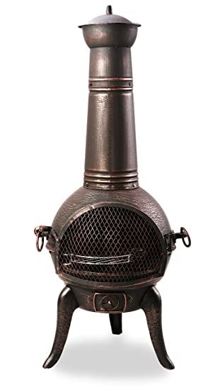 Primrose - Chimenea de hierro fundido (mediana, bronce, con tubo de acero)