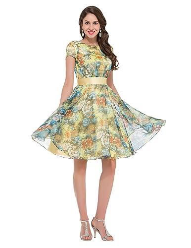 GRACE KARIN®Women's Chiffon Flower Pattern Long V-Neck Evening Dresses
