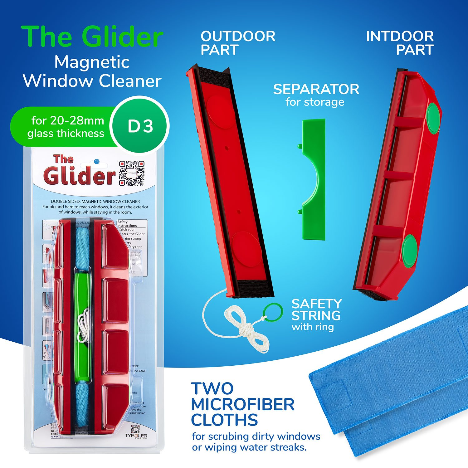 Amazon The Glider D 3 Magnetic Window Cleaner for Double